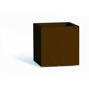 Pot de fleurs Cube en résine Carré H40 Brun 40x40Cm - IDRALITE