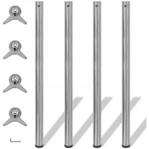 4 Pieds de table Nickel Brossé à hauteur réglable 1100 mm - VIDAXL