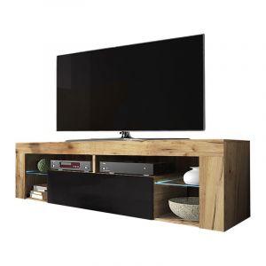 Selsey BIANKO - Meuble TV / Banc TV (140 cm, chêne lancaster / noir brillant, éclairage LED)