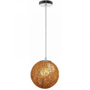 STOEX Rétro Suspension Luminaire en Rotin Globe Rond 20cm, Lustre Abat-jour DIY Lampe Plafond E27 pour Salon Restaurant Centre commercial Bar ( Marron clair )