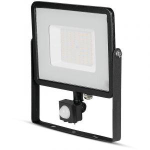 Projecteur led projecteur chip samsung avec capteur de mouvement 50w lumineux naturel 4000k 4250lm ip65 couleur noir vt-50-s-b 470 - V-TAC