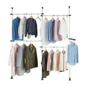 Télescope Garde-Robe Penderie Télescopique 4 Barres Portant de Vêtement et 1 Vêtement Fork KLS03 SoBuy®
