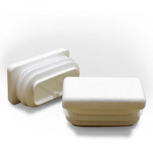 Ajile - Embout Rectangulaire BLANC pour tube de dimension 40x27 mm et d'épaisseur 1,0-3,0 mm