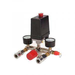 Drillpro - Compresseur d'air Pressostat Pompe + Valve Régulation Pression Controle Jauge