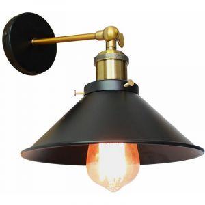 Applique Murale Métal Style Parapluie 220mm Noir E27, Lampe Rétro Plafonnier Industrielle Eclairage Suspension Luminaire, (Ampoule non compris) - STOEX