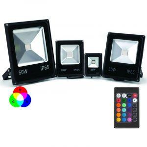 Projecteur LED Couleur RGB Intérieur/Extérieur Extra Plat Avec Télécommande - 10W, 20W, 30W, 50W, 100W (Nouveau !) | Puissance Watt: 50 watts/4850lm/~440w