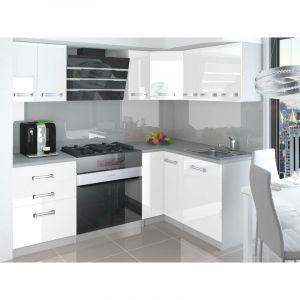 ESTRADA | Cuisine Complète d'angle + Modulaire L 300 cm 8pcs | Plan de travail INCLUS | Ensemble armoires placards cuisine | Blanc - TROUV