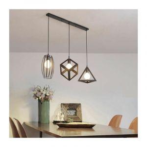 Lustre suspension 3 lampes industriel luminaire abat-jour noir E27 pour cuisine, restaurant, bar - STOEX