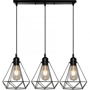 Suspension Cage forme Diamant Contemporain Lampe Plafonnier Corde Ajustable Luminaire Lustre pour Cuisine Couloir - STOEX