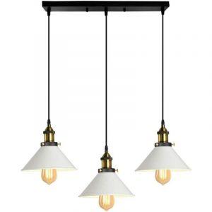 Lustre Suspension industrielle vintage en métal fer rétro abat-jour luminaire 22cm lampe plafonnier corde ajustable ,E27 Blanc - STOEX