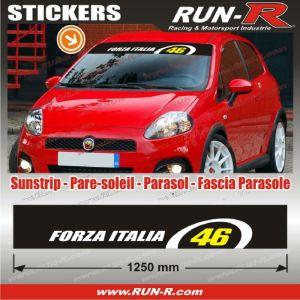 1 pare-soleil FORZA ITALIA 46 - 125 cm - Fond NOIR logo BLANC et JAUNE - Run-R Stickers