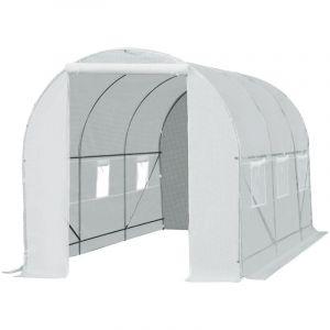Serre de jardin tunnel surface sol 9 m² 4,5L x 2l x 2H m châssis tubulaire renforcé 18 mm 6 fenêtres blanc - Outsunny