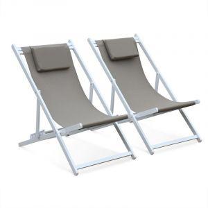Lot de 2 bains de soleil - Gaia taupe - en aluminium blanc et textilene taupe avec coussin repose tête - ALICE'S GARDEN