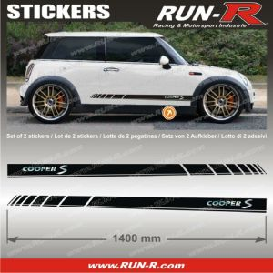 2 stickers MINI COOPERS S 140 cm - NOIR lettres CHROMES - Run-R Stickers