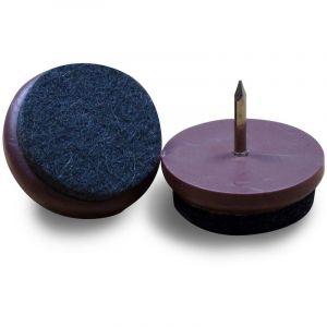 Patin Feutre diam. 21 mm Usage Intensif - Plastique BRUN et Feutre GRIS - À clouer - Ajile