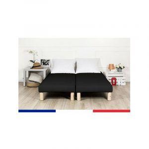 Sommier tapissier 2x100x200 noir (200x200) frabrication francaise - BY SOMMIFLEX
