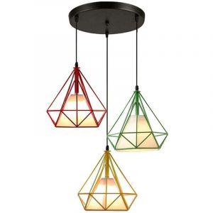 Suspension Cage forme Diamant Contemporain 25cm E27 110-221V Corde Ajustable Luminaire Salle à Manger,Bar - STOEX