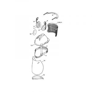 00008840224 - Support de visière pour casque STIHL modèle PELTOR / Hellberg OPTIMA