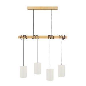 HARLEM Lustre 4 tetes en bois et coton - L80 x H180 cm - Blanc - E27 4x40W