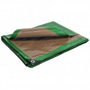 Bâche Toiture 10x15 m 250g/m² Traitée Anti UV Verte et marron - Couverture toiture en polyéthylène haute qualité