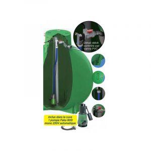 Ecoregul cuve de regulation d'eau de pluie avec pompe, sortie haute - 1500 L - PLASTEAU