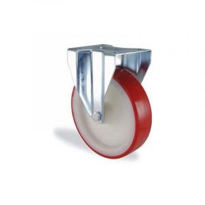 Roulette fixe polyuréthane rouge diamètre 150mm charge 400kg - HTR