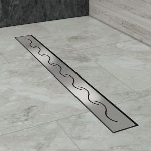 Modèle en S, (80cm) Inox, Siphon de canal de douche évacuation d'eau SIRHONA
