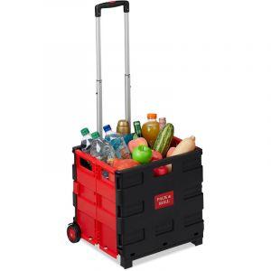 Chariot de courses pliable, poignée, roulettes en caoutchouc, 35 kg, poussette de marché, aluminium, rouge - RELAXDAYS