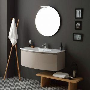 Armoire De Toilette Suspendue Avec Tiroir À Cappuccino Courbé Poli Et Miroir Riva - KIAMAMI VALENTINA