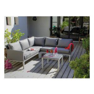 Canapé d'angle Oslo Blanc Argent + table basse - PROLOISIRS