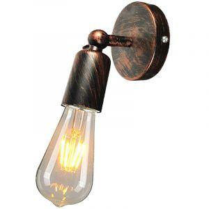 Applique Murale Industrielle en Métal fer , Lampe Rétro Edison Douille E27 Loft Éclairage Vintage pour pour Chambre, Salon, Restaurant, Couloir ( Rouille rouge ) - STOEX