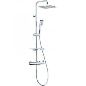Colonne de douche mécanique à tête carrée inox - LIMPID