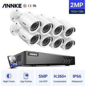 Annke Kit caméra de surveillance filaire 8CH 5 en 1 DVR 3MP enregistreur + 8 caméra HD 1080P Extérieur vision nocture 20m – avec 8 caméra bullet+ disque dur 1 TB