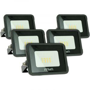 Lot de 5 projecteurs LED 10W IP65 extérieur   Température de Couleur: Blanc neutre 4000K