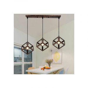 Lustre Suspension Design Cube Métal Industriel Barre 3 Lampes Luminaire Intérieur Salle à Manger E27 Rouille - STOEX
