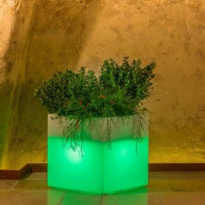 Pot de fleurs Cube en résine Carré H40 Lampe Bleue 40x40Cm - IDRALITE