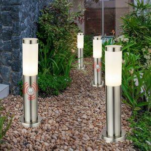 Etc-shop - Lot de 4 lampadaires éclairage de chemin extérieur Lampes sur pied en acier inoxydable détecteur de mouvement IP44 E27