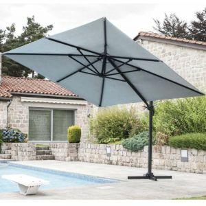 Parasol carré 3x3 déporté couleur gris perle - OZALIDE