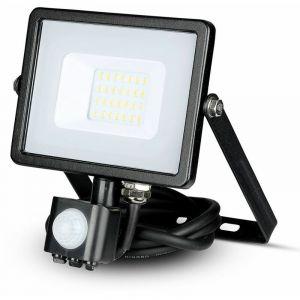 Projecteur led projecteur chip samsung avec capteur de mouvement 20w lumineux naturel 4000k 1600lm ip65 couleur noir vt-50-s-b 451 - V-TAC