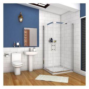 90x90x195cm porte de douche coulissante avec un receveur correspondant à la dimension de la cabine de douche - AICA SANITAIRE