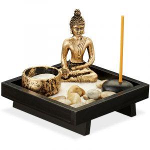 Jardin zen, avec Bouddha, pierres, sable, tiges d'encens & porte-bougie, relaxation, Déco Feng shui, noir