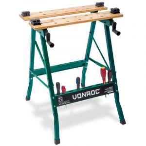 Établi pliant VONROC, capacité de charge jusqu'à 150 kg - Équipé d'un plan de travail en bambou