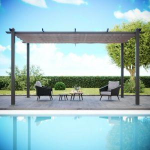 Tonnelle/Pergola aluminium 3x4m toile coulissante rétractable - Gris Taupe - Hero XL - AVRIL PARIS