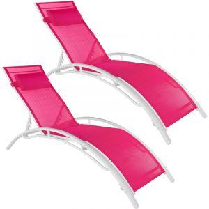Tectake - Lot de 2 transats avec coussin de tête - lot de 2 chaises longues, bains de soleil, transats jardin - rose vif
