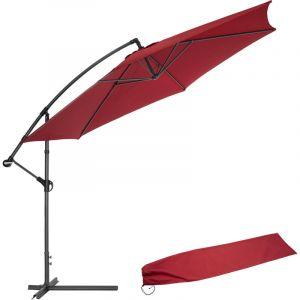 Parasol déporté Inclinable Rouge Pied en Aluminium + Housse de protection - TECTAKE