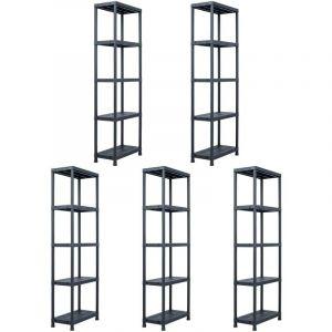 Étagères de rangement 5 pcs Noir 125 kg 60x30x180 cm Plastique - VIDAXL
