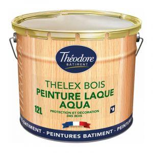 Thelex Bois Aqua - RAL 1005 Jaune miel - 12L : Peinture laque satinée pour la décoration et la protection du bois en intérieur et en extérieur - PEINTURES THEODORE