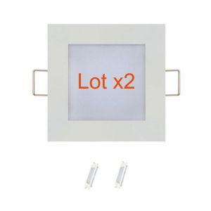 Lot de 2 dalles LED extra plates carré blanc 3W (Eq. 24W) 4200K Dim 90x90mm - HOROZ ELECTRIC