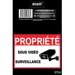 PROPRIETE SOUS VIDEO SURVEILLANCE Adhesif pre-decoupe - Dimension 9 x 6.5 cm - Resistant - Stickzif