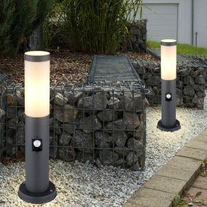 Lot de 2 lampadaires, acier inoxydable, anthracite, détecteur de mouvement - ETC-SHOP